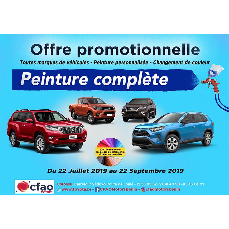 Offre promotionnelle, peinture complète automobile